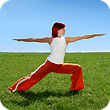 a woman wearing red pants doing exercising
